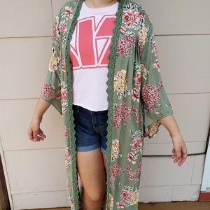 Angie floral open duster kimono